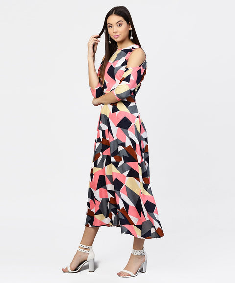 Multi printed 3/4th cold shoulder sleeve A-line Maxi dress