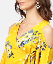 Printed Assymetrical A-line knotted belt style dress with 3/4th cold-shoulder sleeve