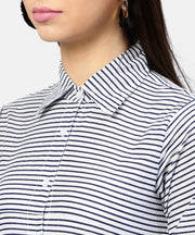 Blue striped 3/4th Sleeve cotton Tunic