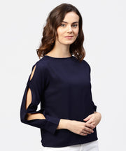 Blue full sleeve crepe top with gathered