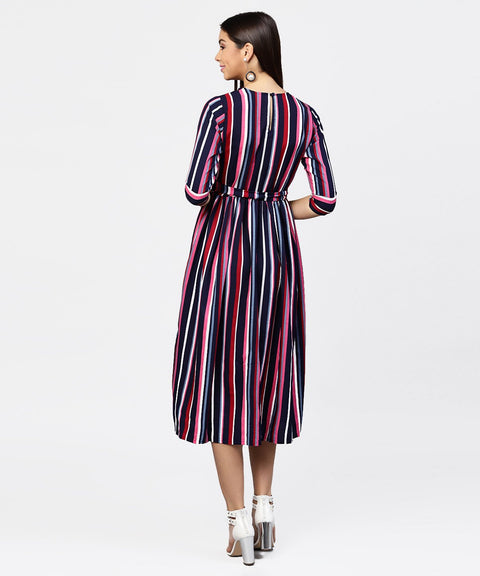 Striped printed 3/4th sleeve choker neckline full length dress with belt