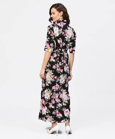 Black printed 3/4th sleeve one side slit dress with belt