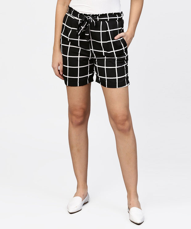 Black check high waisted short with attached belt & one side pocket