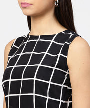 Black check boat nect crop top with high waisted skirt