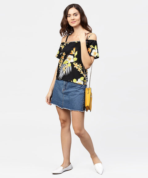 Black printed shoulder straps cold shoulder half sleeve top