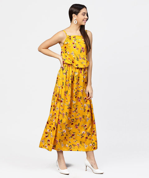 Yellow printed shoulder strapped with a gather neckline maxi dress