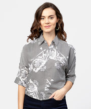Black printed short sleeve top with shirt collor