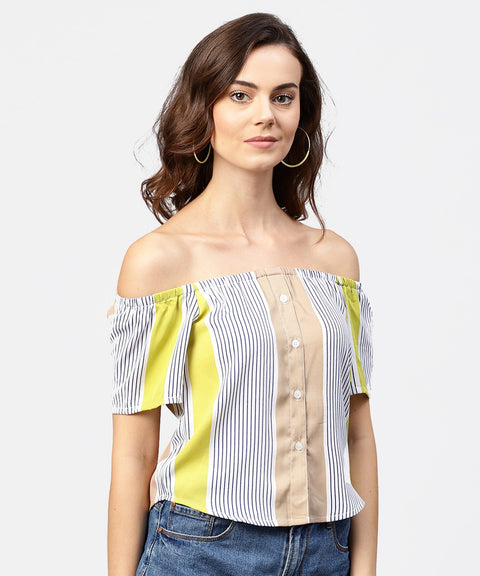 Striped multi printed off shoulder front open top