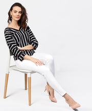 Black striped 3/4th sleeve shirt style top
