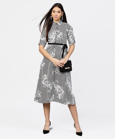Black striped cuff style half sleeve A-line open placket dress with belt
