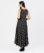 Black check sleeveless A-line maxi dress with slit on the front