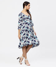 Blue floral printed 3/4th sleeve midi a-line dress