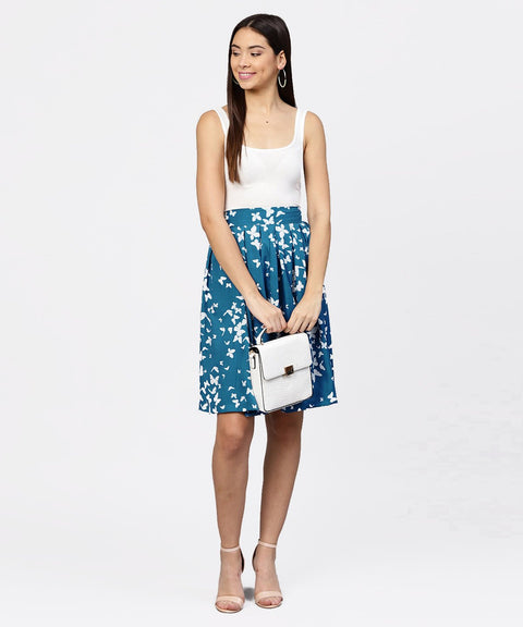 Blue butterfly printed box pleated skirt