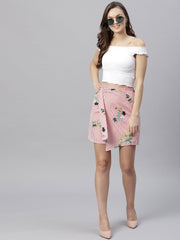 Pink striped floral overlaped skirt