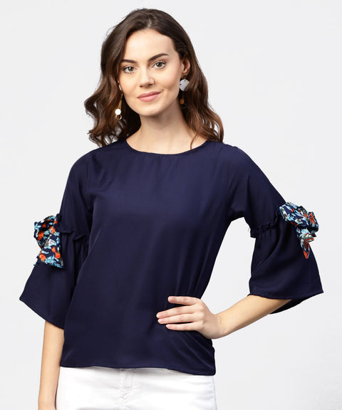 Solid Round neck top with flared 3/4th pinted knotted style sleeves