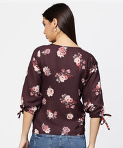 Round Neck Floral Printed 3/4th sleeves Top