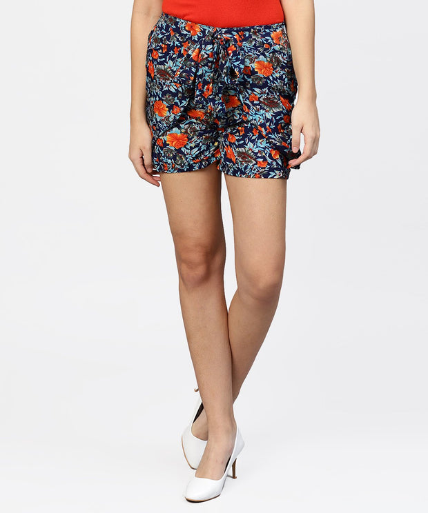 Floral Printed HIgh - Waisted Shorts with Side Pockets