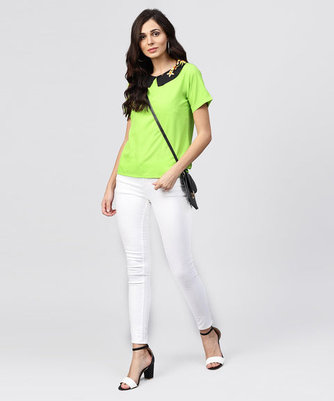Parrot green top with half sleeves and collar