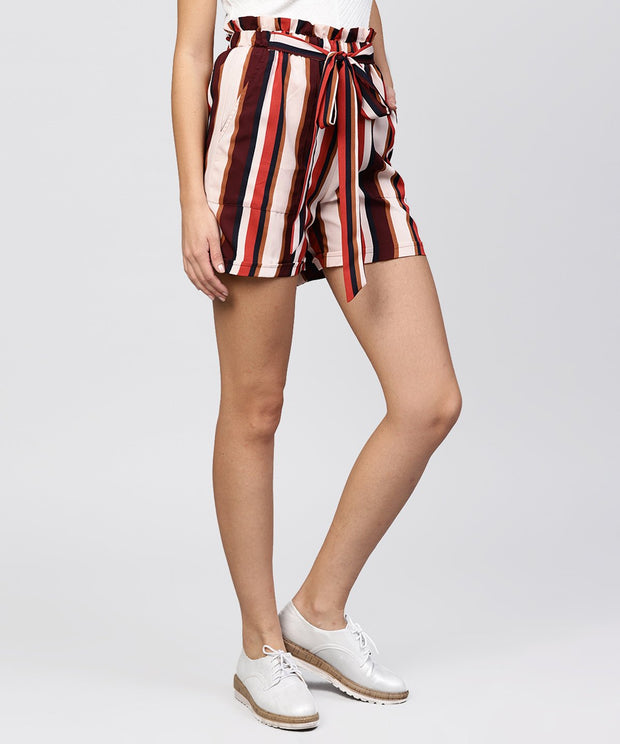 Multi colored striped shorts with fabric belt