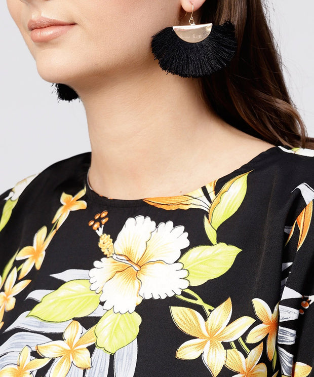 Black printed half sleeve tops with yellow calf length skirt with belt