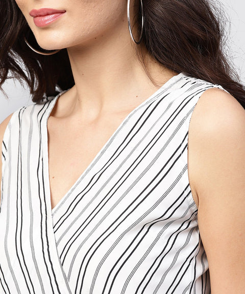 white and grey striped Cotton top with v-neck