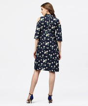 Navy blue printed dress with Round neck and Cold shoulders sleeves