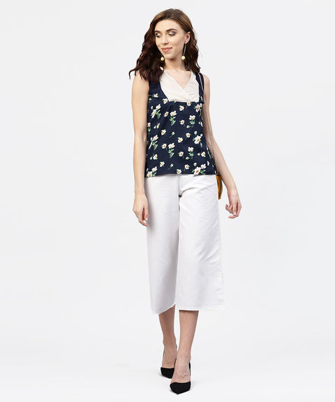 Navy blue floral  printed Sleevless  top with front yoke and V-neck