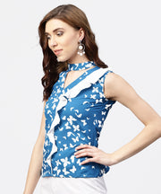 Blue printed top with front placket and madarin collar