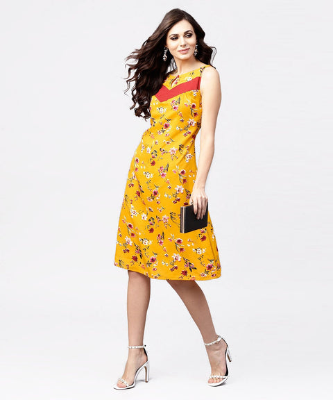 Mustard floral printed sleeveless dress with key hole neck