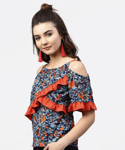 Blue Floral printed top with round neck and cold shoulders