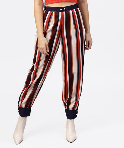 Multi printed ankle length striped trouser