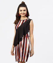 Multi striped Sleeveless Dress with Round neck