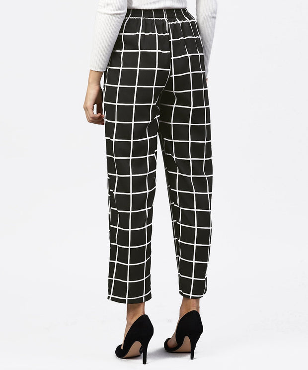 Black & White Checked Trouser with side pockets