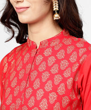 Red printed 3/4th sleeve cotton anarkali kurta with brown printed ankle length palazzo