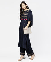 Navy blue yoke printed 3/4th sleeve cotton yoke printed kurta with ankle length palazzo