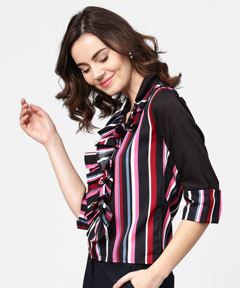 Black striped full sleeve crepe tops