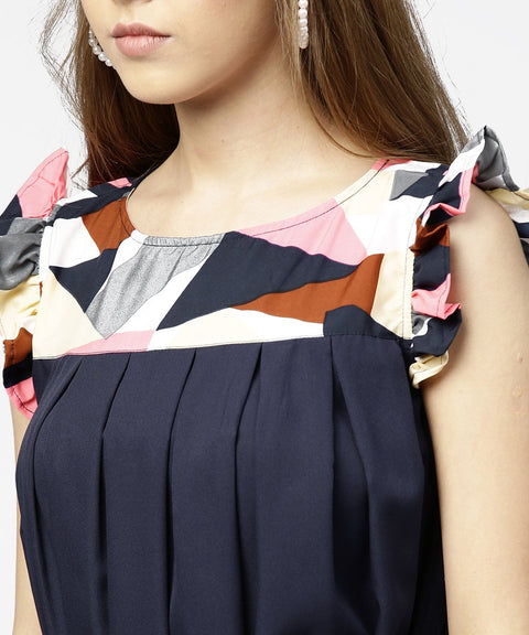 Navy blue yoke printed A-line pleated dress with belt