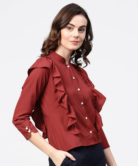 Maroon full sleeve crepe tops with layred design at front