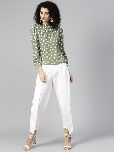Women Olive Green & White Printed Top with Trousers