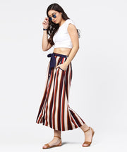 Multi printed ankle length flared skirt with button work at front