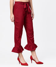 Aasi - House of Nayo Maroon ankle length crepe straight palazzo with belt