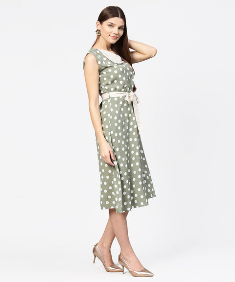 Green Polka dot printed sleeveless A-line dress with belt