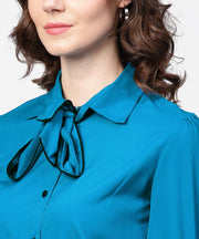 Blue full sleeve crepe shirt with tye design at front