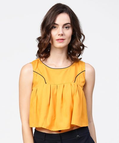 Yellow crepe sleeveless pleated tops