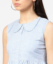 Blue striped cotton sleeveless front open top
