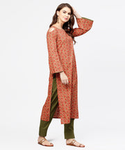 Red printed Long sleeve cold shoulder cotton kurta with green ankle length palazzo