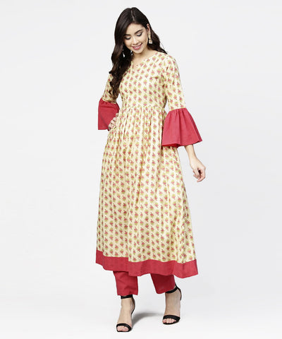Off white printed full sleeve cotton anarkali kurta with pink ankle length palazzo