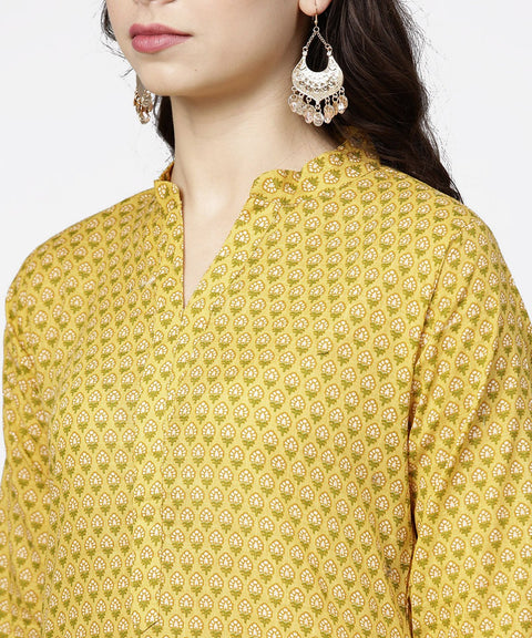 Yellow 3/4th sleeve printed cotton straight kurta green ankle length pallazo