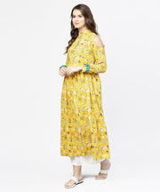 Yellow printed 3/4th cold shoulder sleeve cotton kurta
