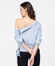 Blue striped half one side off shoulder cotton tops